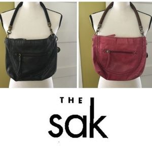 TWO The Sak | Black Leather Hobo Bag Purse Tassel